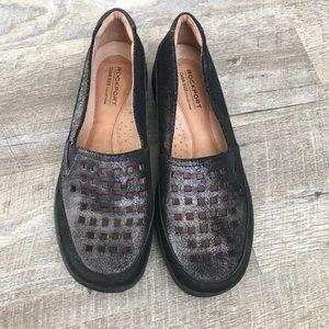 Rockport Cobb hill grey black leather  slip on 7